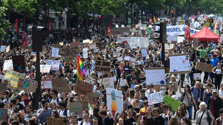 Des jeunes manifestent pour lutter contre le réchauffement climatique, le 24 mai 2019 à Paris. (ALAIN JOCARD / AFP)