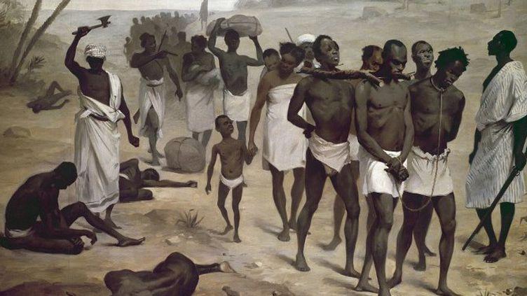 Convoi d'esclaves en Afrique. Peinture apportée par l'association internationale africaine pour l'exposition de 1878 à Paris. Musée du quai Branly, Paris.  ( Josse / Leemage)