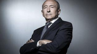 Gérard Collomb, le 2 octobre 2018, lors d'une séance photos au ministère de l'Intérieur, place Beauvau, à Paris. (JOEL SAGET / AFP)