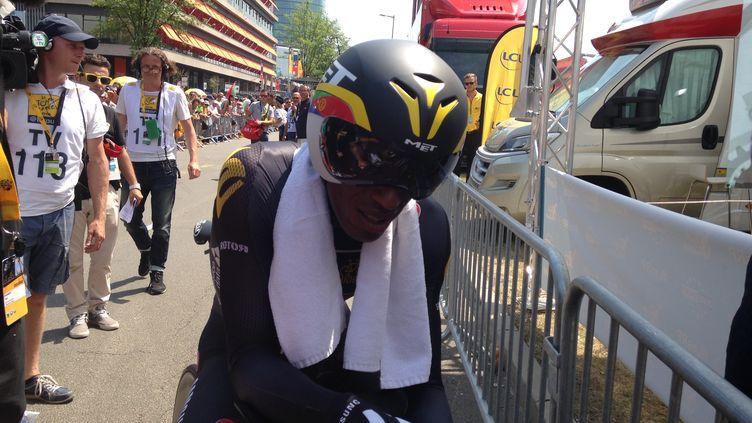 Daniel Teklehaimanot après l'arrivée de la première étape du Tour 2015