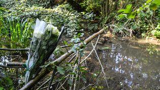 Des fleurs ont été déposées, le 30 septembre 2020, près des lieux où a été retrouvé le corps de Victorine Dartois, 18 ans, le 28 septembre 2020 à Villefontaine (Isère). (PHILIPPE DESMAZES / AFP)