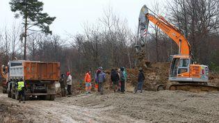 Le chantier du projet contesté de Center Parcs à Roybon (Isère), le 1er décembre 2014. (MAXPPP)
