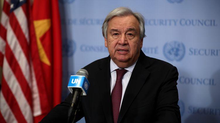 Le secrétaire général de l'ONU, Antonio Guterres, lors d'une conférence de presse à New York (Etats-Unis), le 28 février 2020. (TAYFUN COSKUN / ANADOLU AGENCY / AFP)