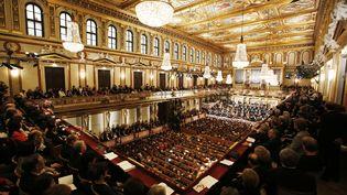 L'Orchestre philharmonique de Vienne (Autriche), lors du traditionnel concert du Nouvel An, le 1er janvier 2013. (DIETER NAGL / AFP)