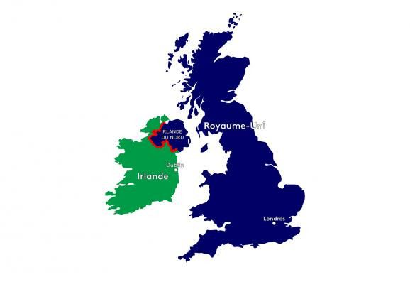 Londres et Bruxelles veulent éviter le retourd'une frontière physique, signalée ici en rouge, entre l'Irlande et l'Irlande du Nord. (FRANCEINFO)