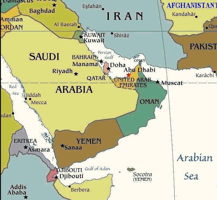 Carte du Golfe persique et du golfe d'Aden.