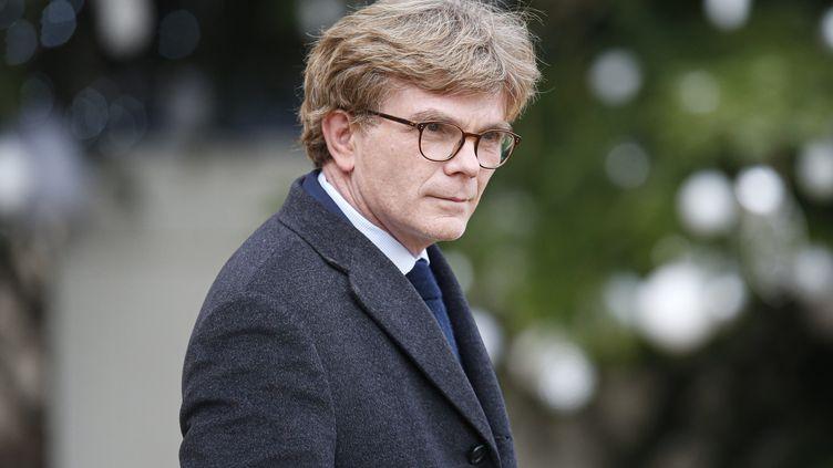 Marc Fesneau, ministrechargé des relations avec le Parlement àla sortie du conseil des ministres sur le perron de l'Elysée le 18 décembre 2019. (S?BASTIEN MUYLAERT / MAXPPP)