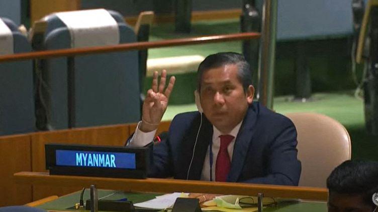L'ambassadeur birman à l'ONU Kyaw Moe Tun, lors de l'Assemblée générale du 26 février 2021, à New York (Etats-Unis). (NATIONS UNIES)