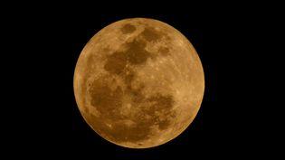 """Vue détaillée de la """"super Lune"""" dans le ciel de Mexico, la capitale mexicaine, le 1er janvier 2018. (JOSE PAZOS F. / NOTIMEX / AFP)"""