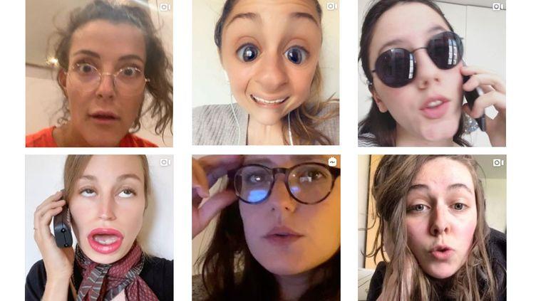 De gauche à droite : Camille Lellouche, Lison Daniel, Anaïde Rozam, et en bas Lison Daniel, Rosa Bursztein et Anaëlle Godefroy. (CAPTURE D'ECRANS INSTAGRAM)