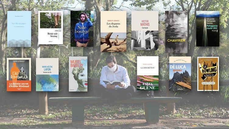 Lecteur dans un parc de Sao Paulo et couvertures des romans coups de coeur dela rédaction de Franceinfo culture de la rentrée littéraire de l'automne 2020 (Franceinfo avec Ettore Chiereguini / AGIF / AGIF via AFP)