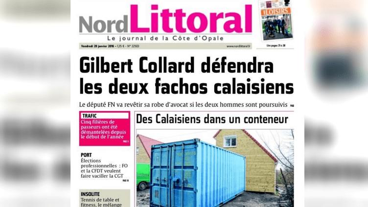 """Extrait de la """"une"""" du 29 janvier 2016 du quotidien """"Nord Littoral"""". (NORD LITTORAL)"""