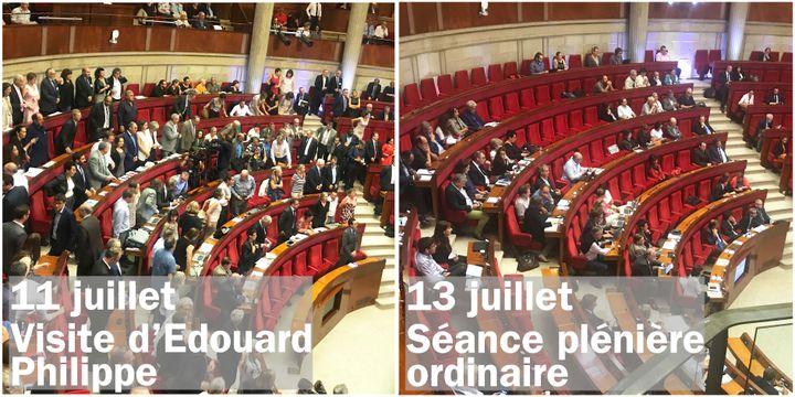 Les rangs de l'hémicycle du Cese en fonction de ce qu'il s'y passe. (Sylvain Tronchet / Radio France)