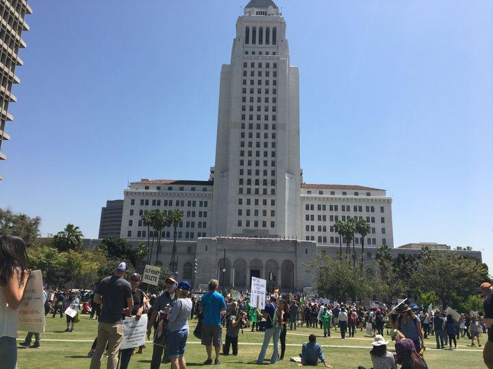Manifestation à Los Angeles aux Etats-Unis,samedi 15 avril 2017, pour appeler Donald Trump à publier ses revenus et ses impôts. (LOÏC PIALAT / RADIO FRANCE)