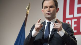 benoît Hamon achevait un déplacement de trois jours en Guadeloupe et Martinique, deux terres de gauche qui ont massivement voté pour Valls lors de la primaire de la gauche.  (HELENE VALENZUELA / AFP)