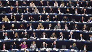 Lors d'un vote dans l'hémicycle du Parlement européen, à Strasbourg le 26 mars 2019. (FREDERICK FLORIN / AFP)