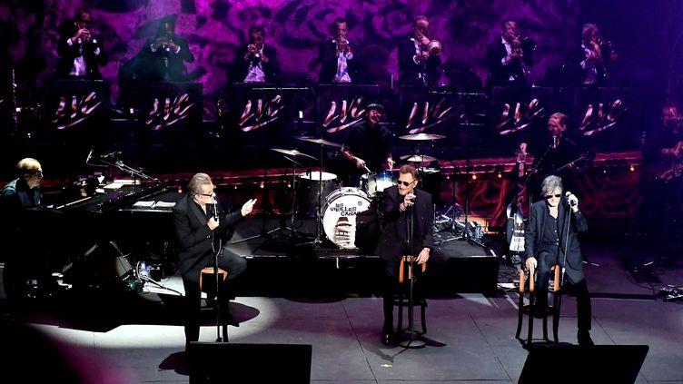 Johnny Hallyday,Eddy Mitchell et Jacques Dutronc, pour leur dernier concert, à Carcassonne (Aude), le 5 juillet 2017. (MAXPPP)