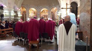 Les évêques réunis dans la Basilique Notre-Dame du Rosaire à Lourdes en avril 2019. (BENJAMIN ILLY / FRANCE-INFO)