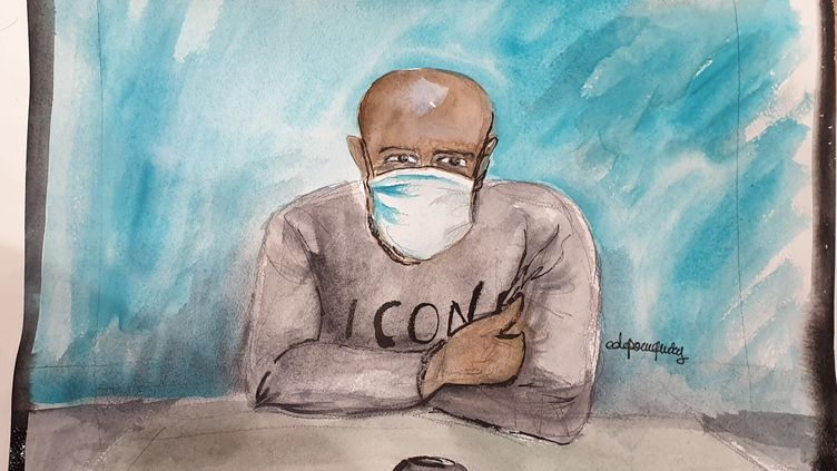 Peter Cherif en visioconférence devant la cour d'assises spéciale de Paris, au procès des attentats de janvier 2015, le 23 octobre 2020. (ELISABETH DE POURQUERY / FRANCEINFO)