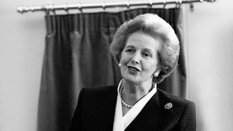 Margaret Thatcher, Premer ministre britannique le 23 mai 1990. (© HOWARD DENNER / RETNA PICTURE / MAXPPP)