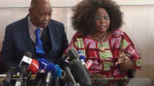 Les parents de Naomi Musenga donnent une conférence de presse, le 9 mai 2018 à Strasbourg (Bas-Rhin). (FREDERICK FLORIN / AFP)