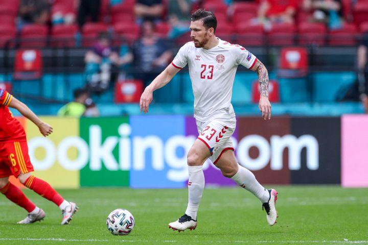 Pierre-Emile Hojbjerg lors duhuitième de finale entre le Danemark et lepays de Galles, le 26 juin à Amsterdam (MARCEL TER BALS / ORANGE PICTURES / AFP)
