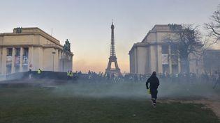 """Des """"Gilets jaunes"""" au Trocadéro lors de l'acte 15 du mouvement, le 23 février 2019 à Paris. (ANTONI LALLICAN / HANS LUCAS / AFP)"""