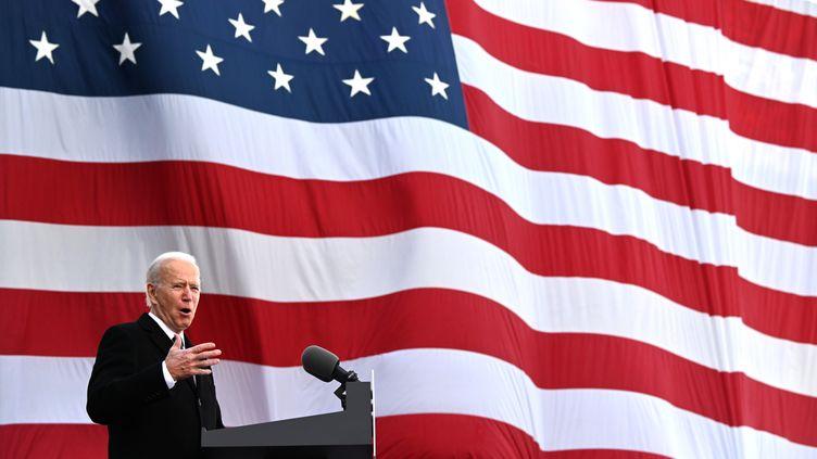 Le président élu Joe Biden s'exprime devant ses partisans dans le Delaware, le 19 janvier 2021. (JIM WATSON / AFP)