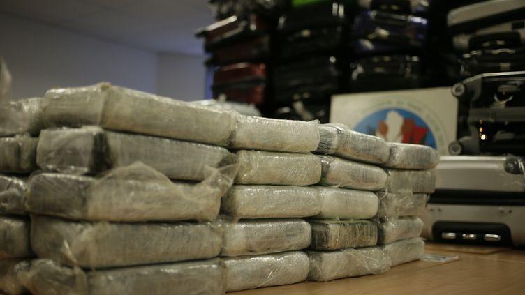 De la cocaïne saisie à l'intérieur d'un avion cargo et montrée à la presse par la police à Nanterre (Hauts-de-Seine), le 21 septembre 2013. (KENZO TRIBOUILLARD / AFP)