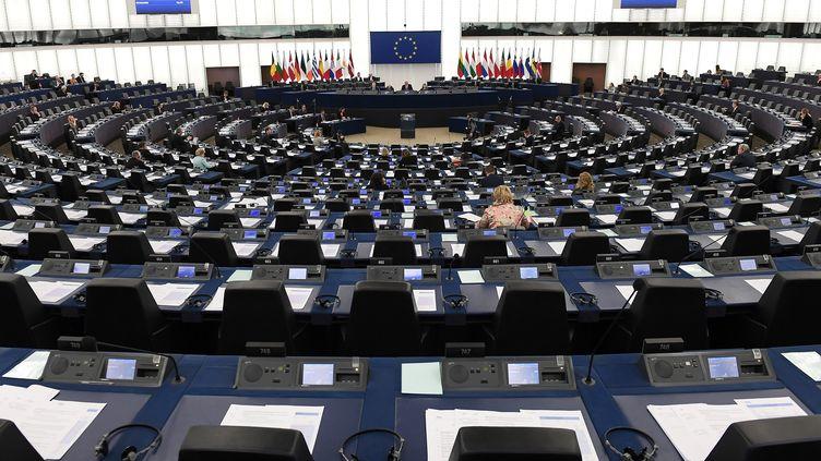 L'hémicycle du Parlement européen à Strasbourg, le 14 mars 2018. (FREDERICK FLORIN / AFP)