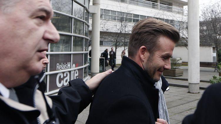 David Beckham à sa sortie de la Pitié-Salpêtrière où il passé la visite médicale avant de signer au PSG