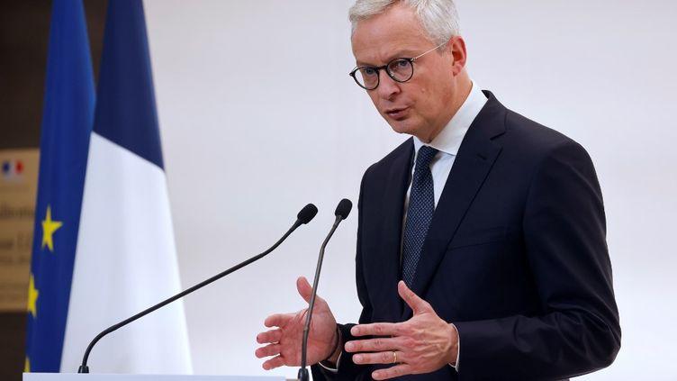 Le ministre de l'Economie, Bruno Le Maire, en conférence de presse, le 15 octobre 2020. (LUDOVIC MARIN / POOL)