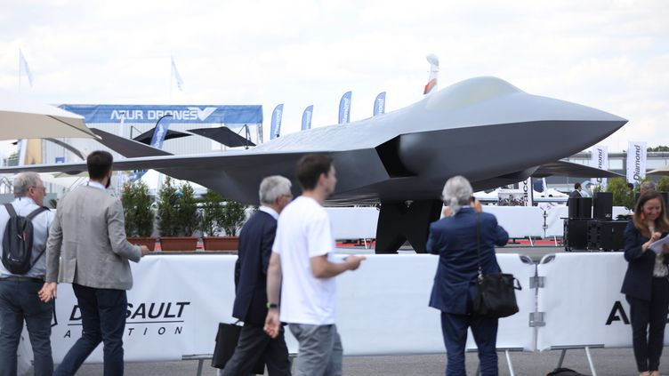 Présentation d'une maquette en taille réelle du futur New generation fighter franco-allemand, au Salon de l'aéronautique et de l'espace au Bourget le 17 juin 2019 (GUILLAUME GEORGES / MAXPPP)