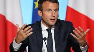 Le président français Emmanuel Macron lors d'une réunion sur la crise migratoire à l'Elysée, à Paris, le 28 août 2017. (LUDOVIC MARIN / AFP)