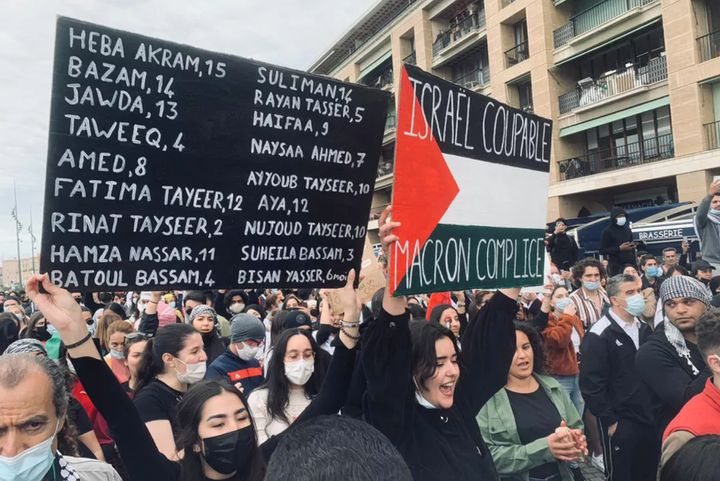 Des manifestants venus soutenir les Palestiniens, à Marseille, le 15 mai 2021. (LAURA CADEAU / FRANCE 3 PACA)