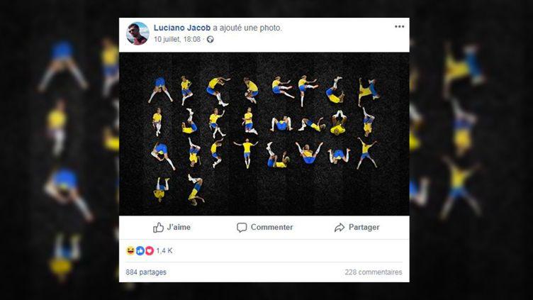 Le directeur artistique brésilien a partagé sur Facebook mardi 10 juillet une photo de cet alphabet, composé uniquement avec les chutes de Neymar durant le Mondial. (LUCIANO JACOB / FACEBOOK)