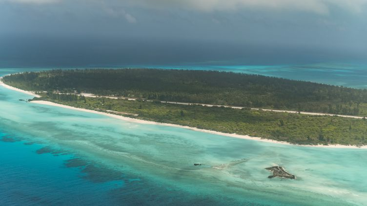 Vue aérienne del'île de la Grande Glorieuses, dans l'archipel des Éparses. (JACQUES WITT / AFP)