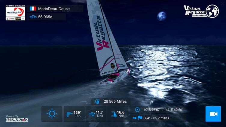 "Capture d'écran du jeu ""Virtual Regatta"" qui propose de participer virtuellement auVendée Globe. (VIRTUAL REGATTA)"