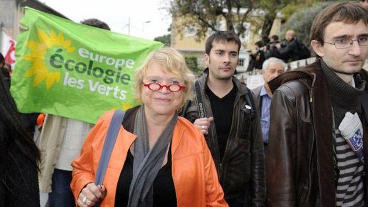 Eva Joly manifeste pendant le G20 (novembre 2011) (BORIS HORVAT / AFP)