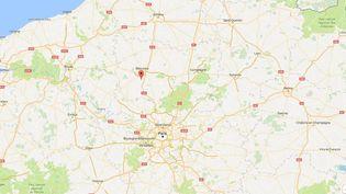Capture d'écran Google Maps pointant la ville de Berneuil-en-Bray (Oise), où trois gendarmes sont morts dans un accident de la route, le 23 décembre 2016. (GOOGLE MAPS)