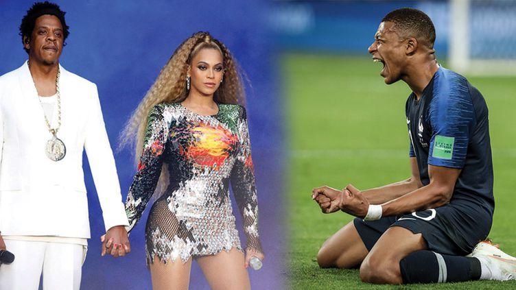 Jay-Z et Beyoncé, 3 juillet 2018 et Mbappé, 10 juillet 2018, lors de la demi-finale du Mondial 2018  (PictureGroup/Shuttersto/SIPA (Jay-Z et Beyoncé) THIAGO BERNARDES / FRAMEPHOTO / DPPI / AFP (Mbappé))