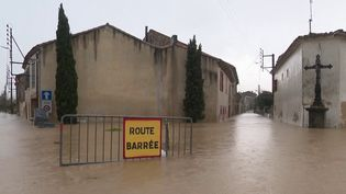 Dans les Pyrénées-Orientales et l'Aude, des quartiers entiers ont été inondés. Plusieurs cours d'eau sont sortis de leurs lits. (FRANCE 2)