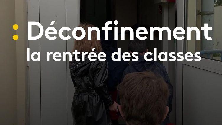 À Camps-sur-l'Isle en Gironde, une partie des élèves ont repris le chemin de l'école mardi 12 mai (capture écran). (FRANCEINFO / RADIOFRANCE)