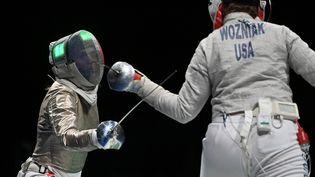 Manon Brunet, membre de l'équipe de France de sabre, lors des Jeux de Tokyo, le 31 juillet 2021. (FABRICE COFFRINI / AFP)