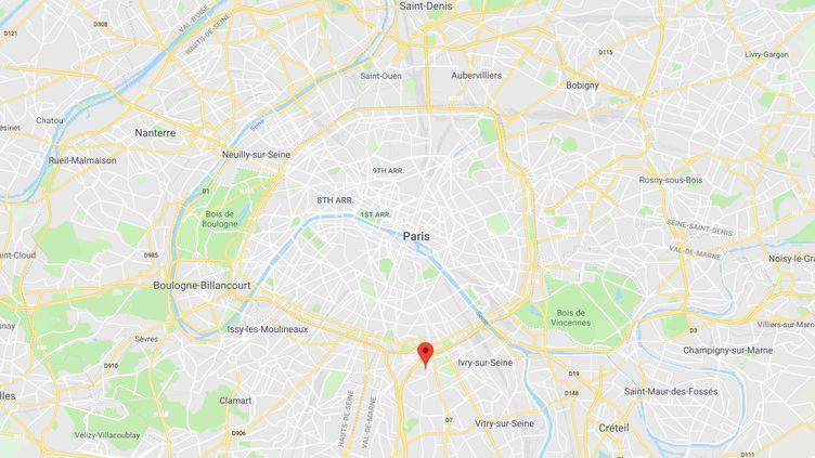 Capture d'écran de Googlemaps pointant la ville du Kremlin-Bicêtre (Val-de-Marne) où était affectéMamadou N'Diaye lorsqu'il était gardien de la paix. (GOOGLEMAPS)