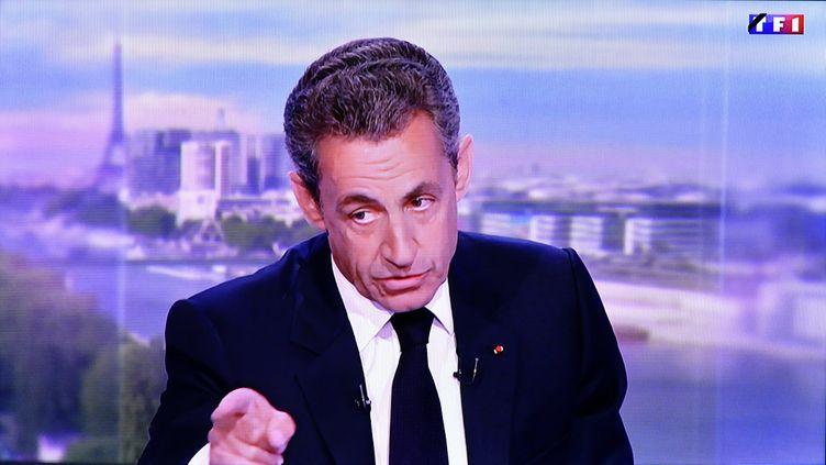 Le président des Républicains, Nicolas Sarkozy, le dimanche 17 juillet, sur le plateau du 20 heures de TF1. (NCY / MAXPPP)