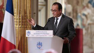 Le président François Hollande en conférence de presseà l'Elysée, à Paris, le 7 septembre 2015. (PHILIPPE WOJAZER / POOL/AFP)