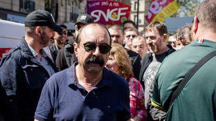Philippe Martinez, le secétaire général de la CGT, à la manifestation interprofessionnelle contre la politique du gouvernement, le 19 avril 2018 à Paris (MAXPPP)