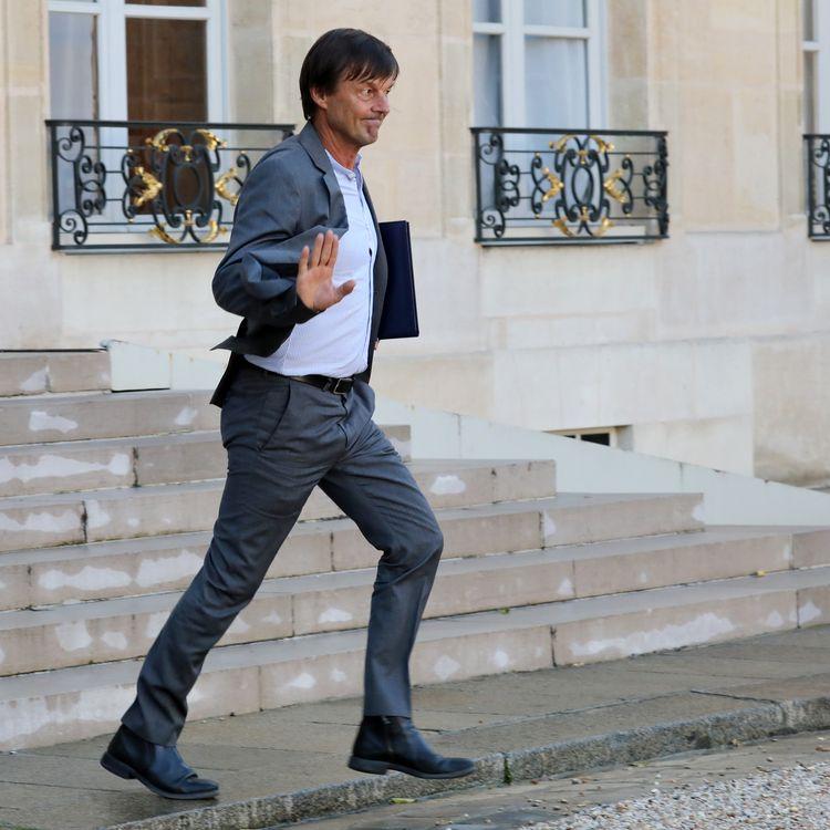 L'ancien ministre de l'Ecologie Nicolas Hulot quitte l'Elysée, à Paris, le 14 septembre 2017. (LUDOVIC MARIN / AFP)