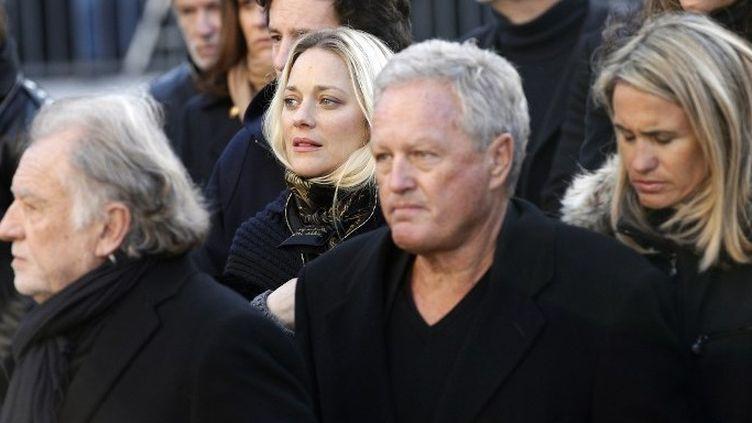 André Boudou (au centre) lors des obsèques de Johnny Hallyday (9/12/2017)  (Yoan VALAT / POOL / AFP)